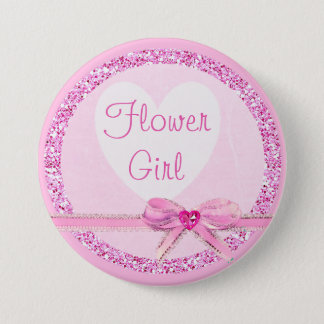 Flower Girl Pink Bow Faux Glitter Button