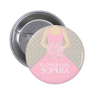 Flower girl pink dress named wedding pin button
