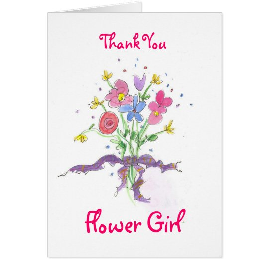 Flower Girl Posie Bouquet Thank You Card