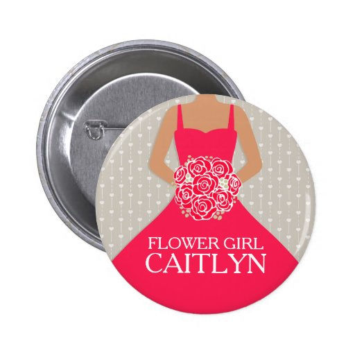 Flower girl red dress named wedding pin button