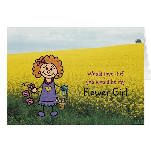 Flower Girl Request Invitation Illustration Greeting Cards