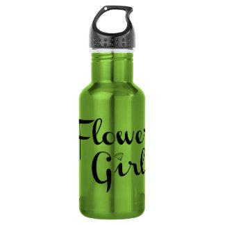 Flower Girl Retro Script Black on Green 532 Ml Water Bottle