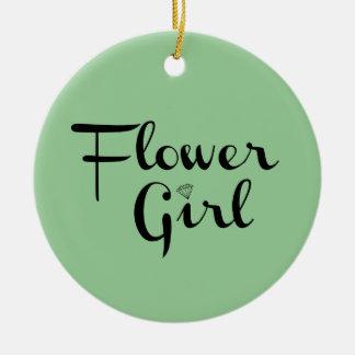 Flower Girl Retro Script Black on Green Round Ceramic Decoration