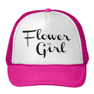 Flower Girl Retro Script Black on Pink Cap