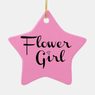 Flower Girl Retro Script Black on Pink Ceramic Star Decoration