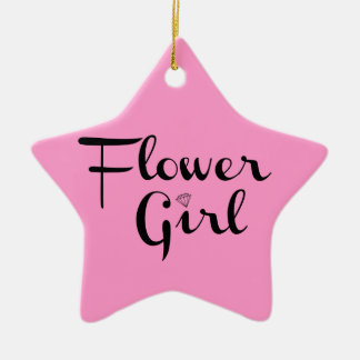 Flower Girl Retro Script Black on Pink Christmas Ornament