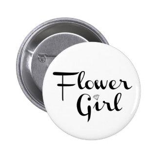 Flower Girl Retro Script Black on White 6 Cm Round Badge