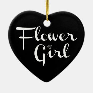 Flower Girl Retro Script White on Black Ceramic Heart Decoration