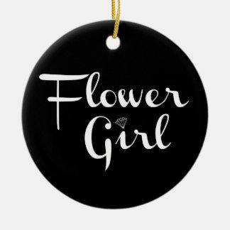 Flower Girl Retro Script White on Black Christmas Ornament