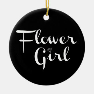 Flower Girl Retro Script White on Black Round Ceramic Decoration