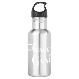Flower Girl Retro Script White on Grey 532 Ml Water Bottle