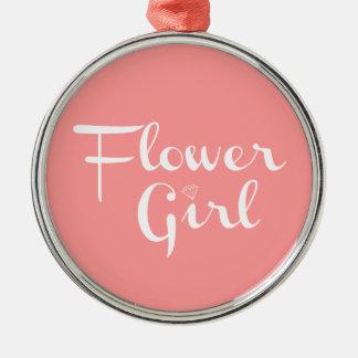 Flower Girl Retro Script White on Peach Silver-Colored Round Decoration