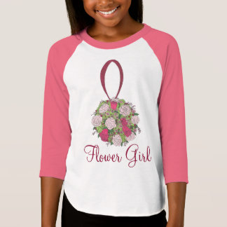 Flower Girl Rose Bouquet Wedding Bridal Party Tee