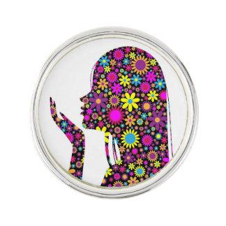 FLOWER GIRL SILHOUETTE LAPEL PIN