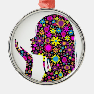 FLOWER GIRL SILHOUETTE Silver-Colored ROUND DECORATION