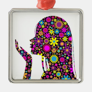 FLOWER GIRL SILHOUETTE Silver-Colored SQUARE DECORATION