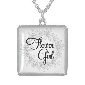 Flower Girl Silver Necklace For BridalParty Gift