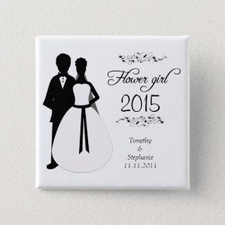 Flower girl swirls wedding favor pinback button