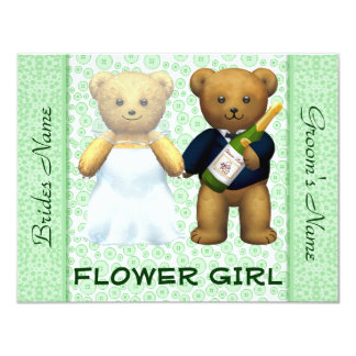 "Flower Girl Teddy Bears Apple Green Wedding Invite 4.25"" X 5.5"" Invitation Card"