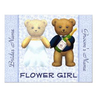 Flower Girl - Teddy Bears Blue Wedding Invite