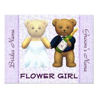 Flower Girl - Teddy Bears lilac Wedding Invite