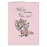 Flower Girl Thank You, Pink Dots and Flowers Card