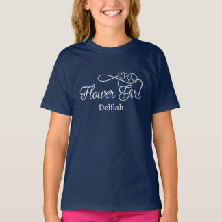 """""""Flower Girl"""" Typography Hearts T-Shirt"""