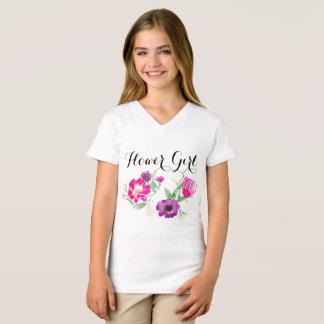 Flower Girl Watercolor Flowers T T-Shirt