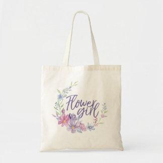 Flower Girl Watercolor Peonies WREATH Tote Bag