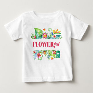 Flower Girl Watercolor Tropical Destination Weddin Baby T-Shirt