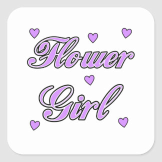 Flower Girl Wedding Hearts Square Sticker