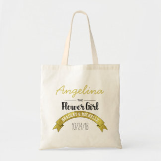 FLOWER GIRL WEDDING TOTE BAG | GOLD GLAMOUR