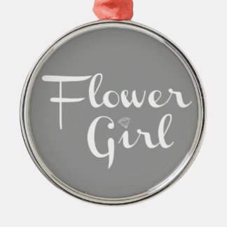 Flower Girl White on Grey Christmas Ornaments