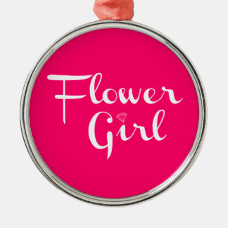 Flower Girl White on Hot Pink Christmas Tree Ornaments