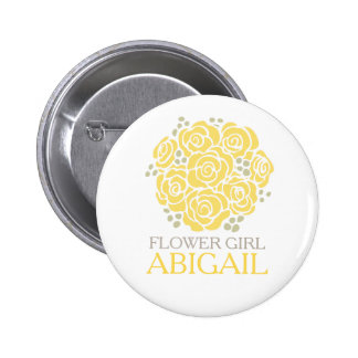 Flower girl yellow posy named wedding pin button