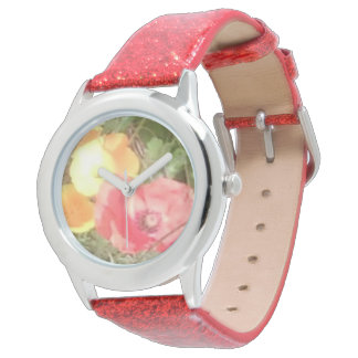 Flower & Glitter Watch Red but u can choose colour