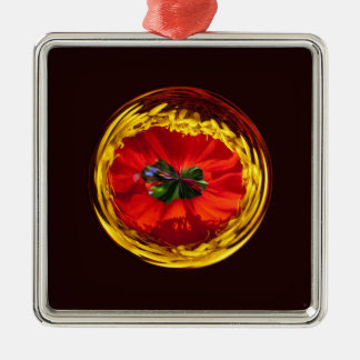 Flower globe in red and yellow christmas ornament