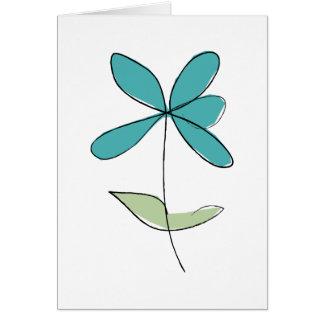 Flower greetings card - bluey-green colour