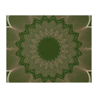 Flower Guilloche pattern dark green1 Wood Print