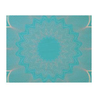 Flower Guilloche pattern light blue pink Wood Prints