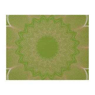 Flower Guilloche pattern light green1 Wood Prints