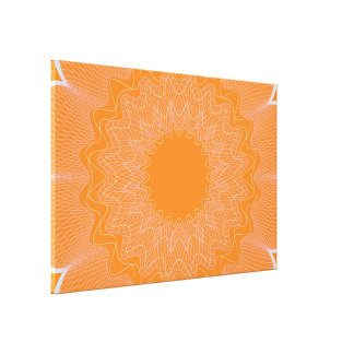 Flower Guilloche pattern orange1 Gallery Wrapped Canvas