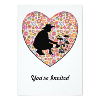 Flower Heart and Gardener Silhouette 5x7 Paper Invitation Card