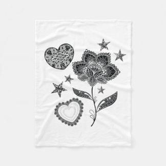 flower heart and stars fleece blanket