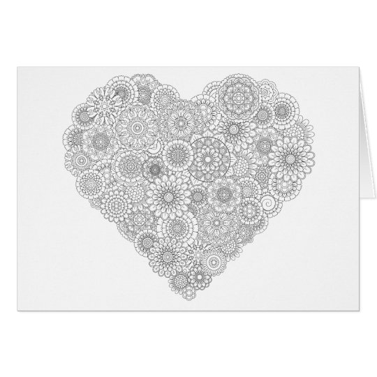 Flower Heart Card: Adult Colouring Personalised Card