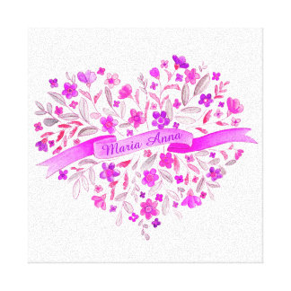 Flower heart pink purple name watercolor art stretched canvas prints