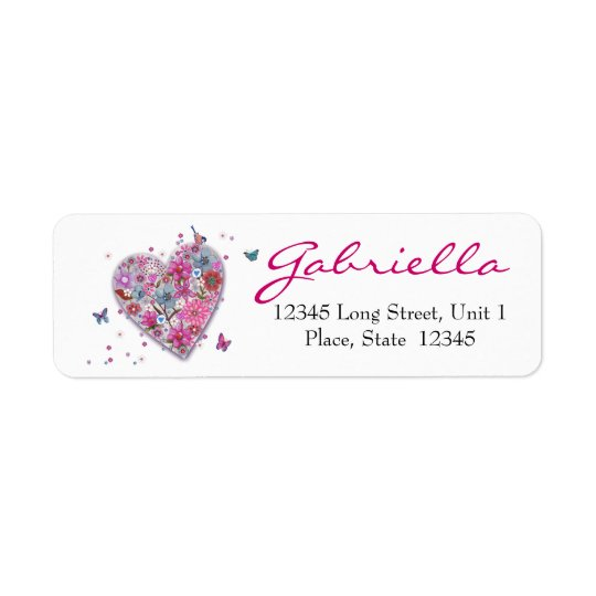 Flower Heart Return Address Labels