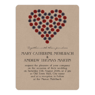 Flower Heart Wedding invitation 16.5 cm x 22.2 cm