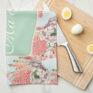 Flower, hortensias pink gardenias details tea towel