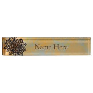 Flower Illustration Desk Nameplate
